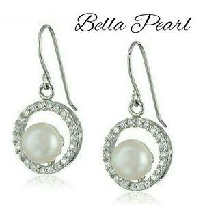 Bella Pearl Sterling Silver CZ Dangle Earrings
